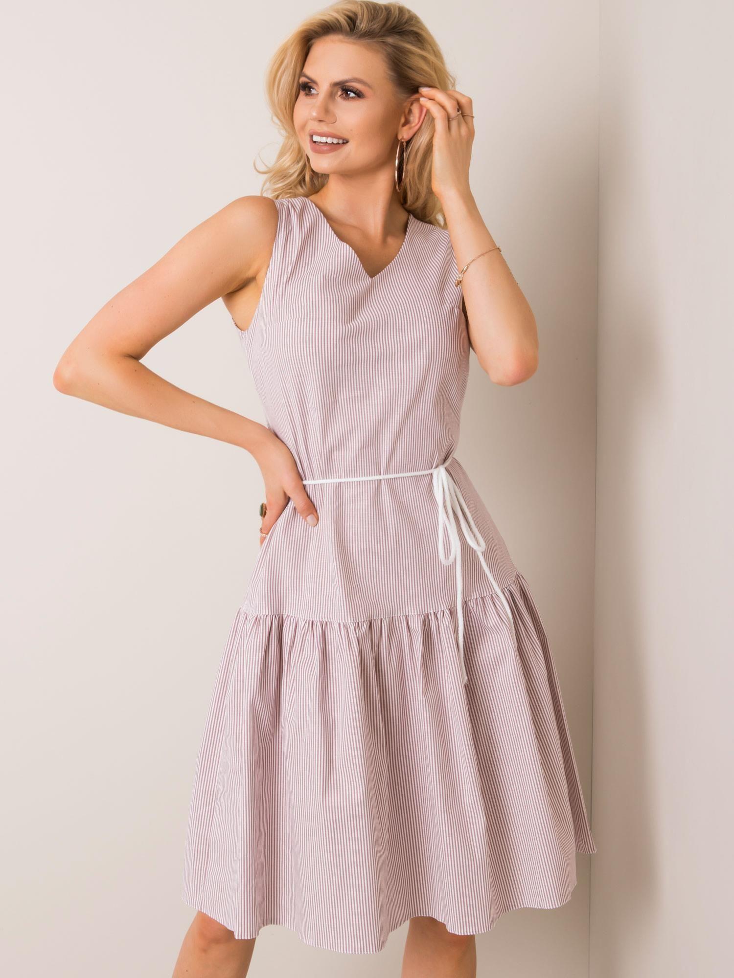 Dámske béžovo-biele pruhované šaty - 40