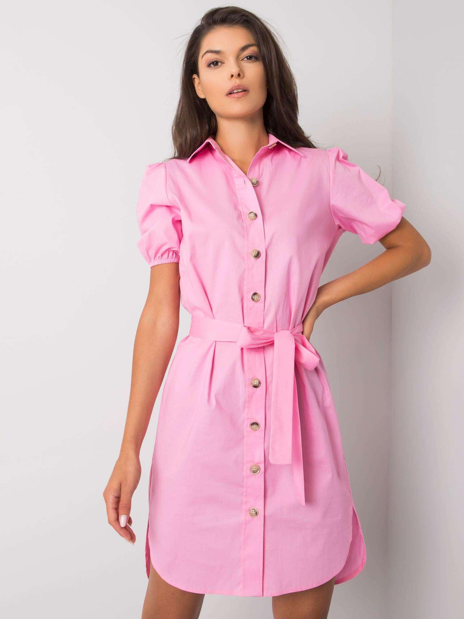 Ružové košeľové šaty s krátkym rukávom - 42