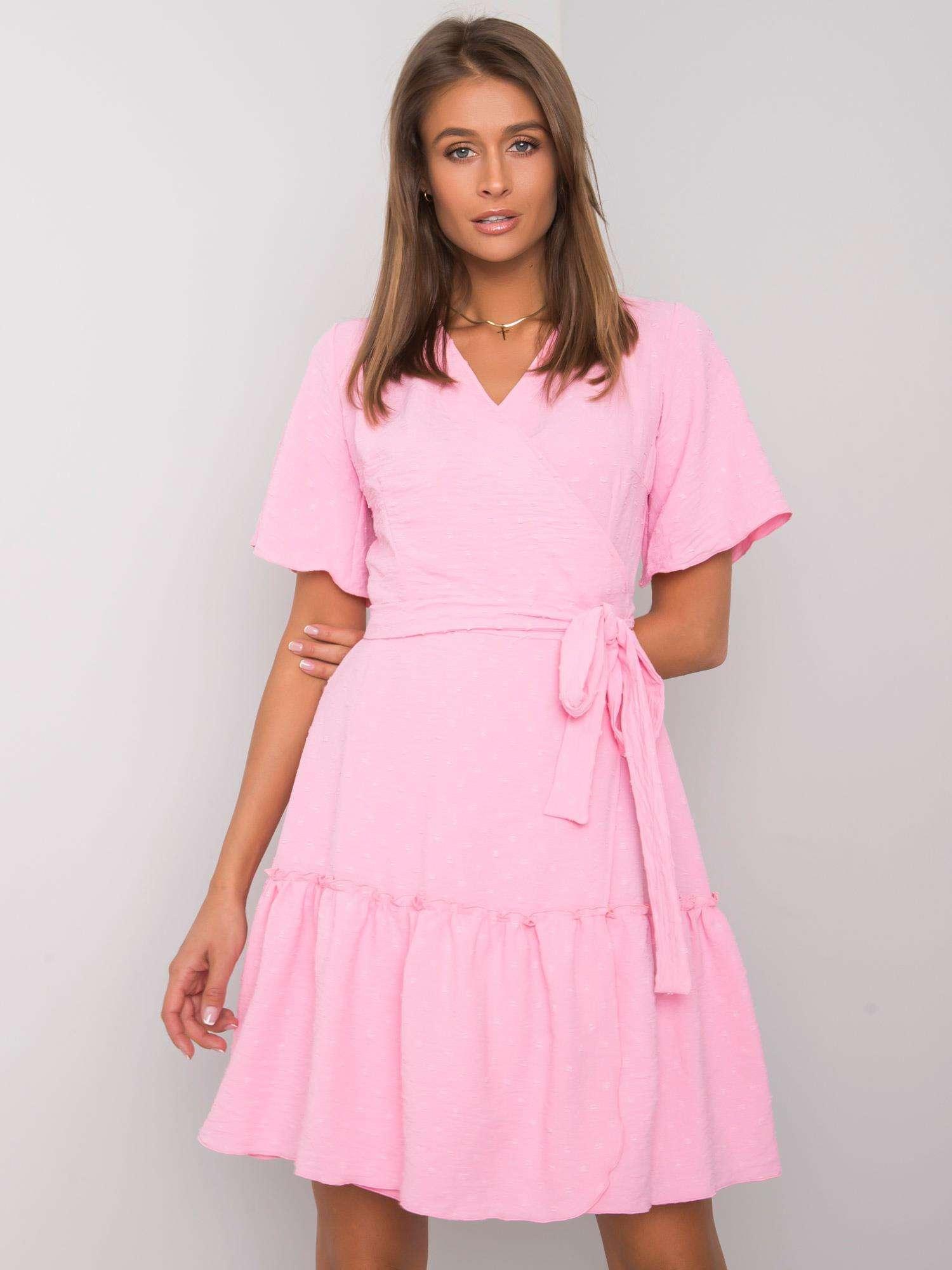 Ružové zavinovacie šaty s viazaním - 42
