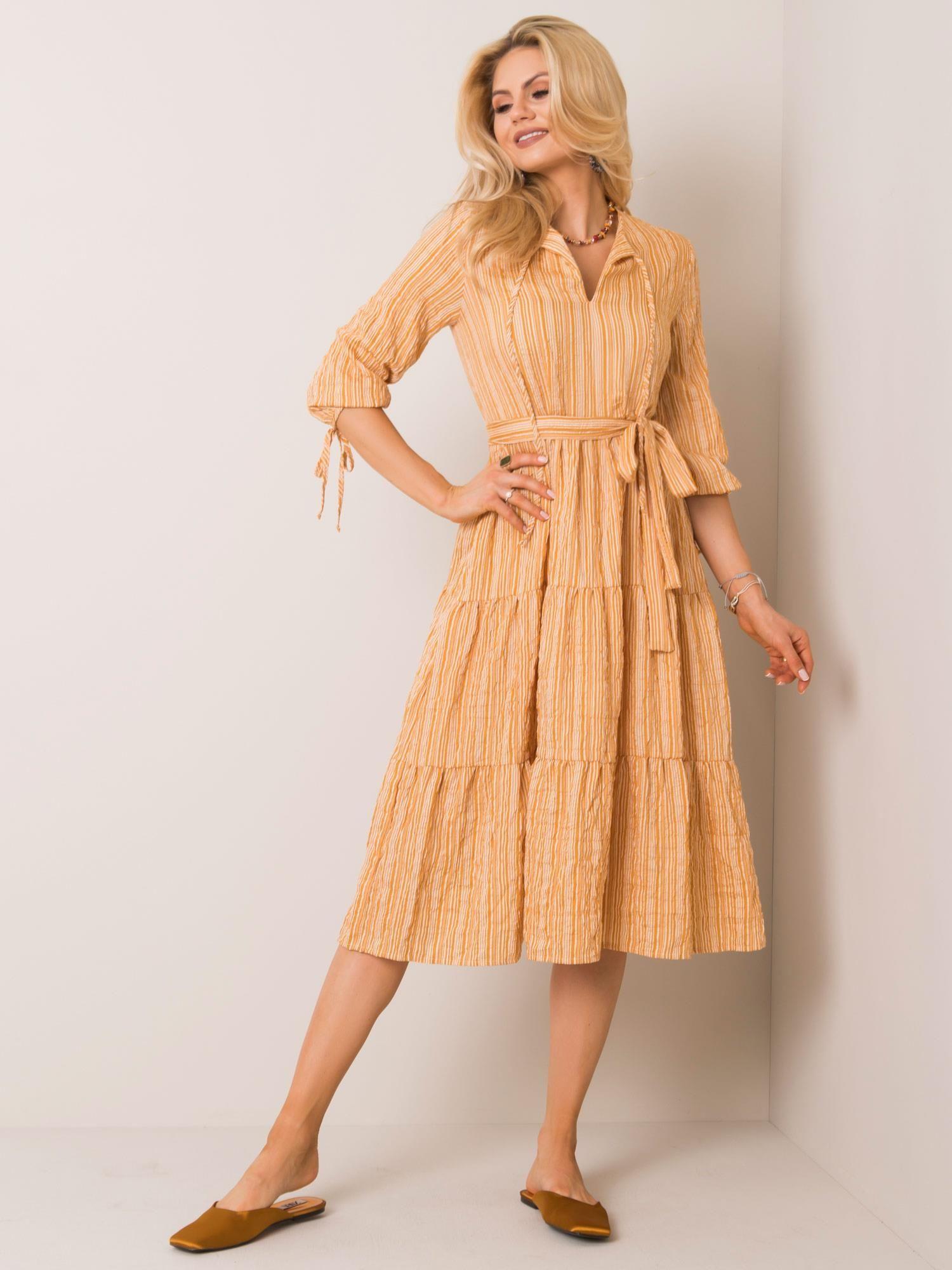 Dámske pruhované midi šaty žltej farby - 40