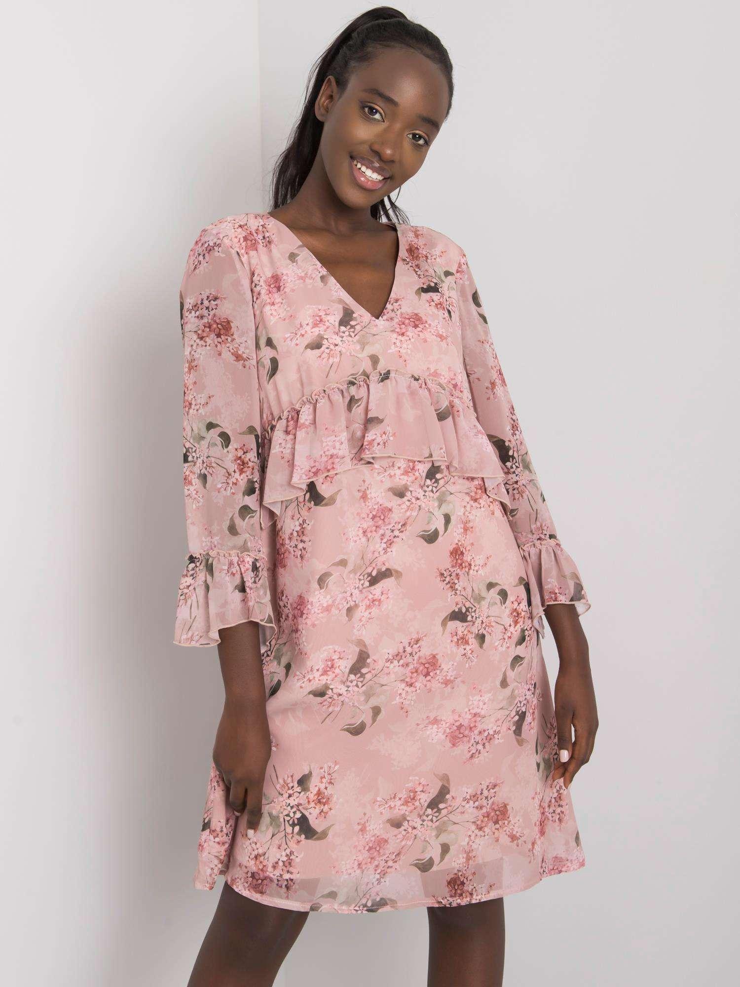 Dámske ružové šaty s kvetinovými vzormi - 42