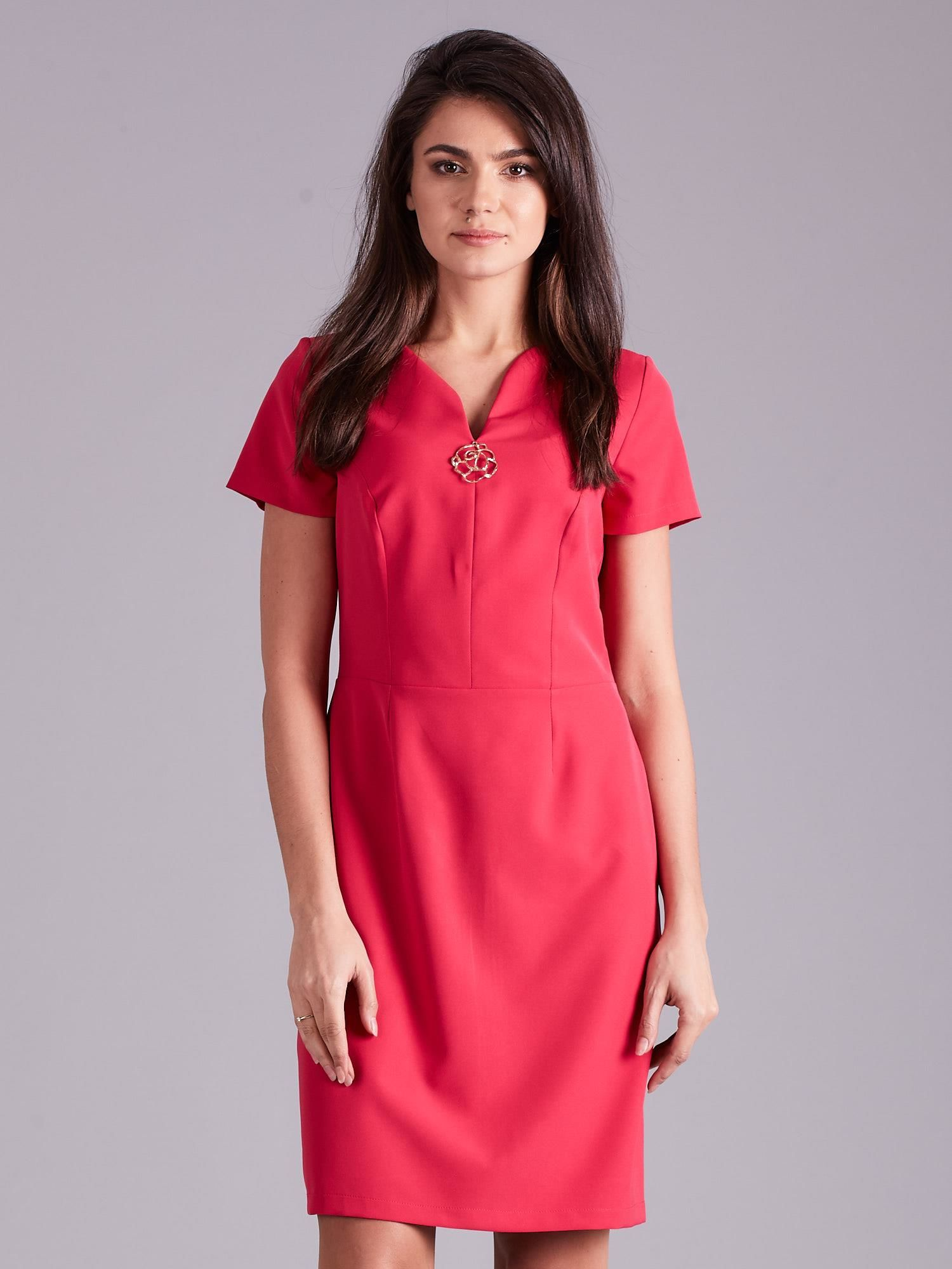 Elegantné ružové šaty s ozdobou - 42