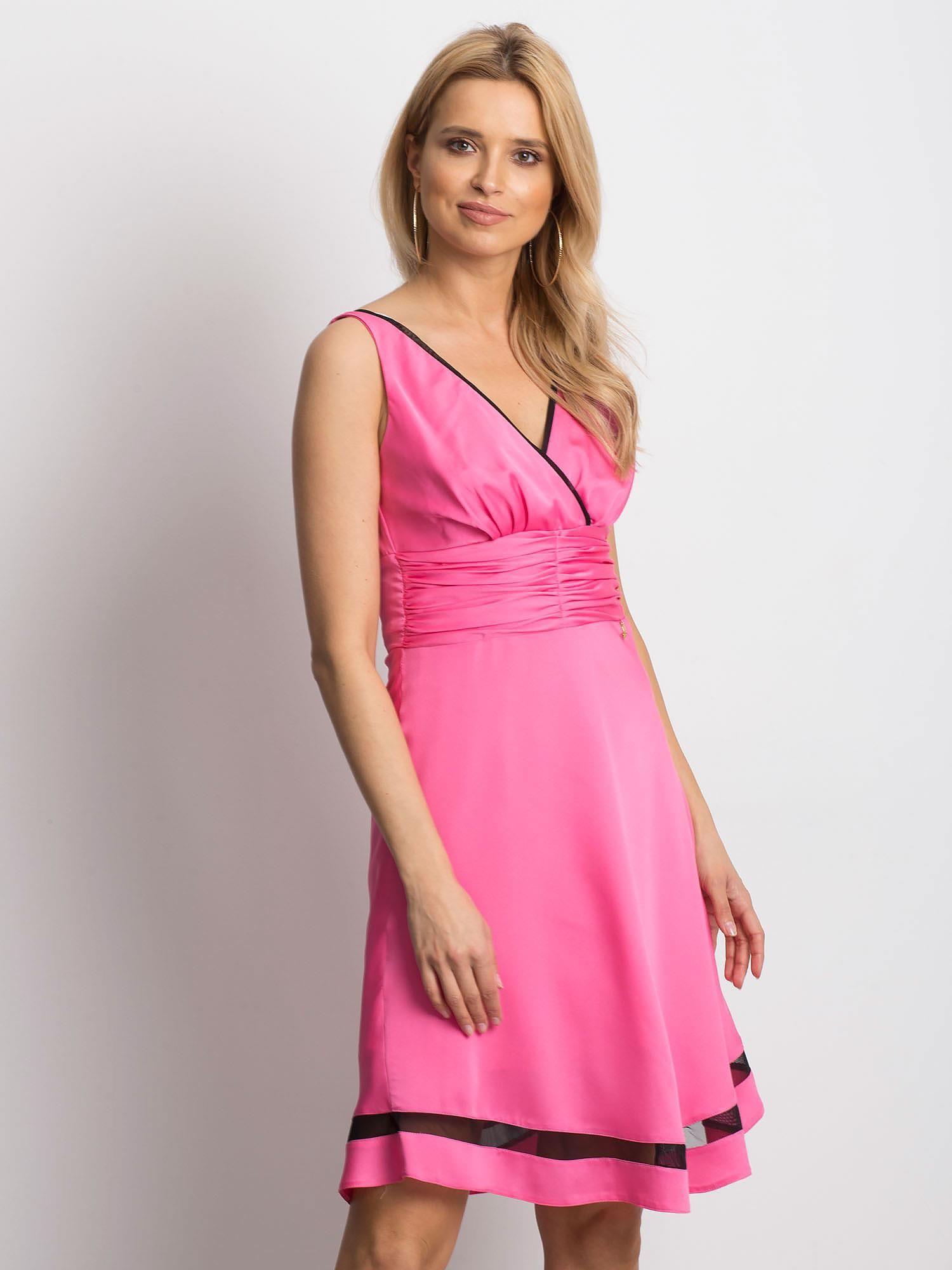 Dámske ružové šaty na ramienka - 42