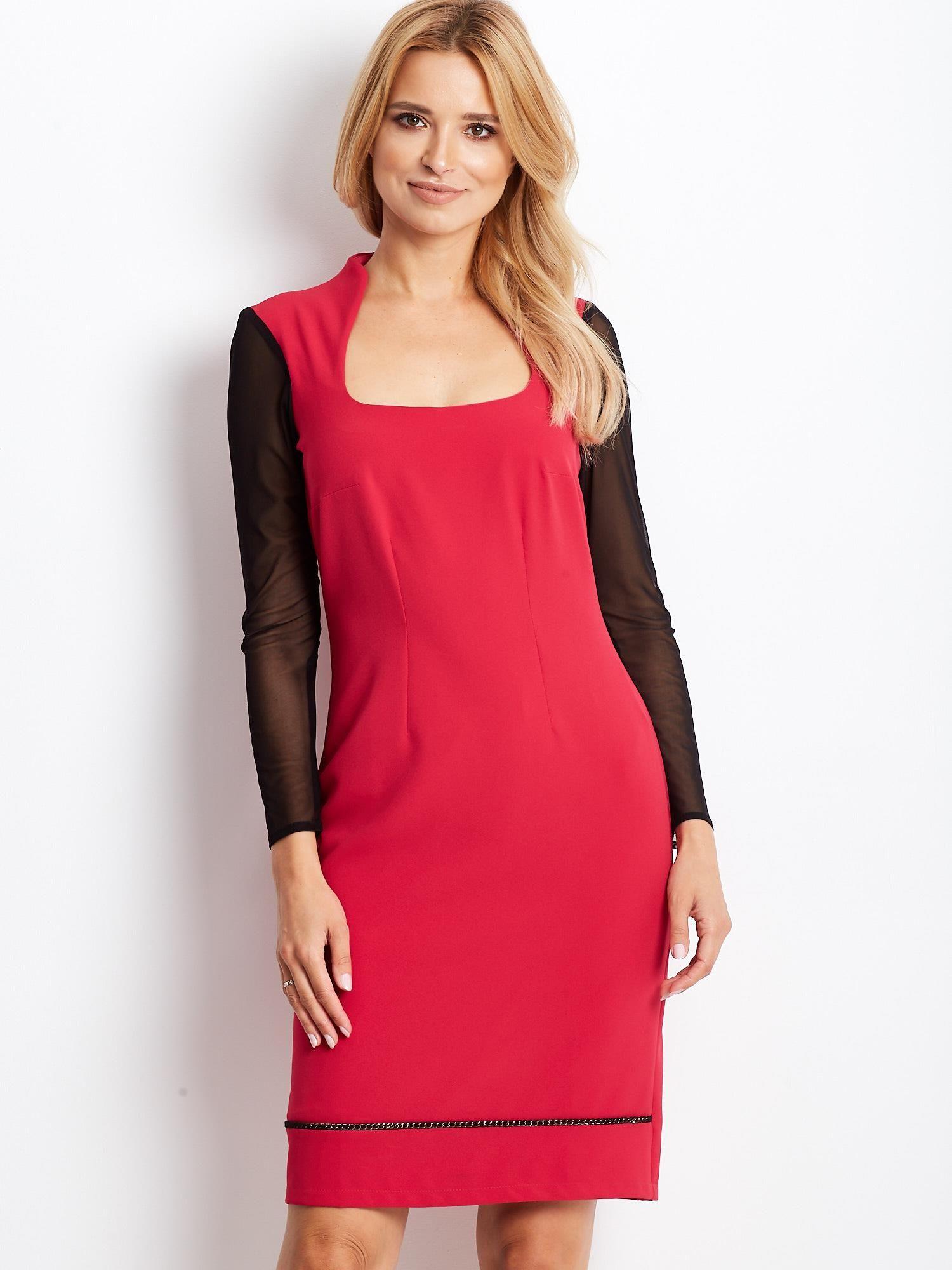 Ružové dámske šaty so sieťovanými rukávmi - 42