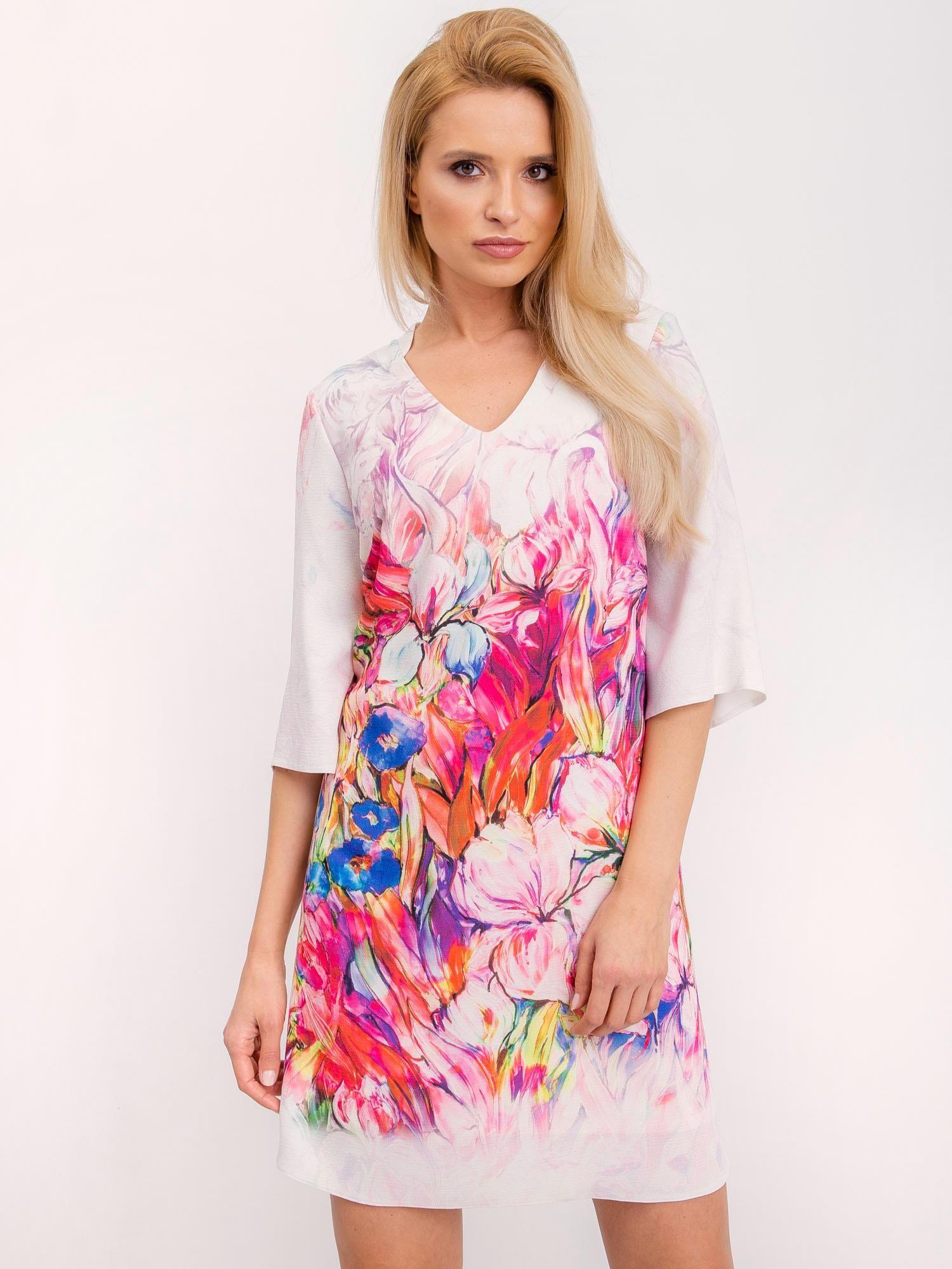 Ružové šaty s kvetinovými vzormi - 42