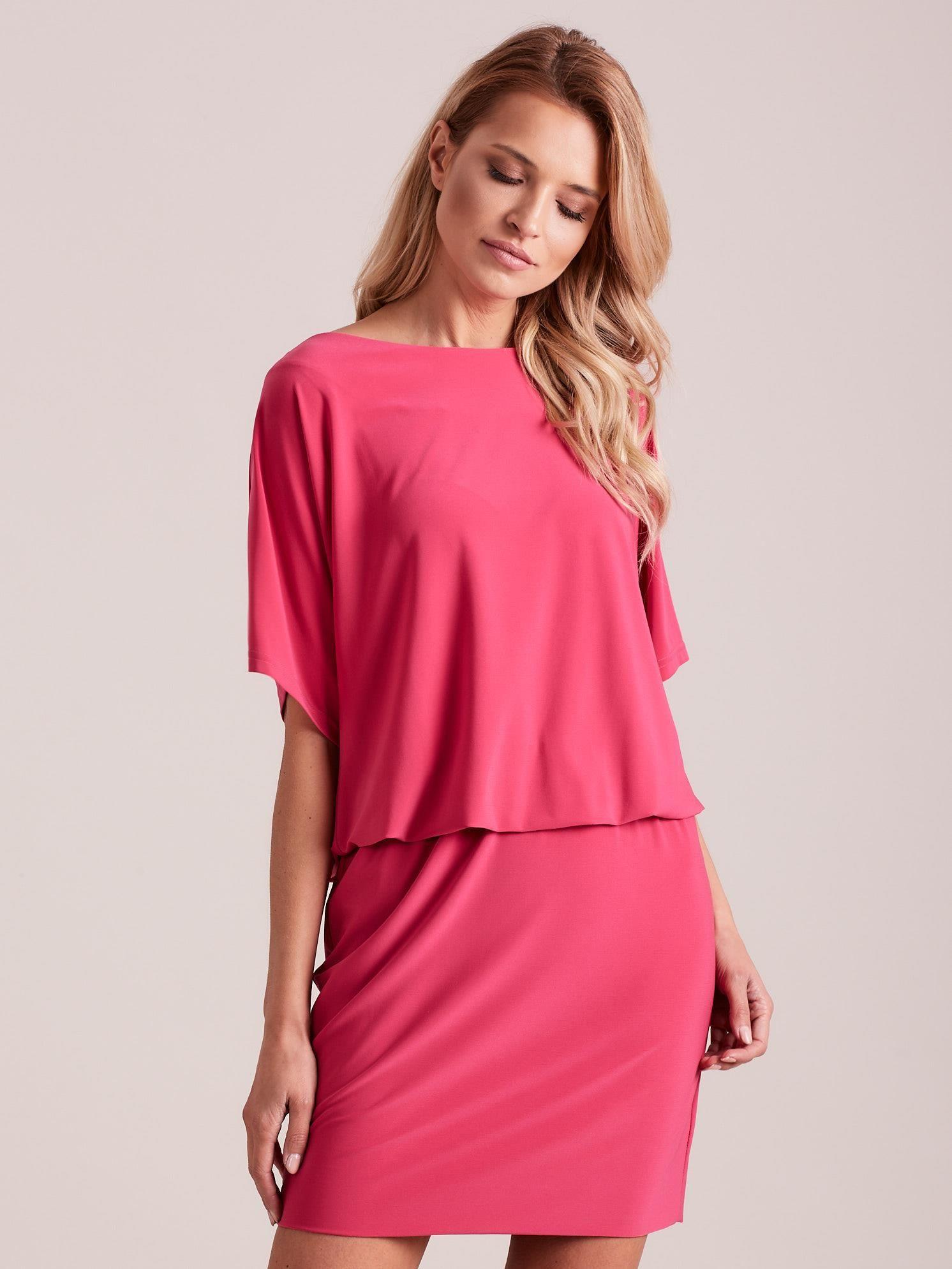 Ružové šaty s otvorom na chrbte - 42