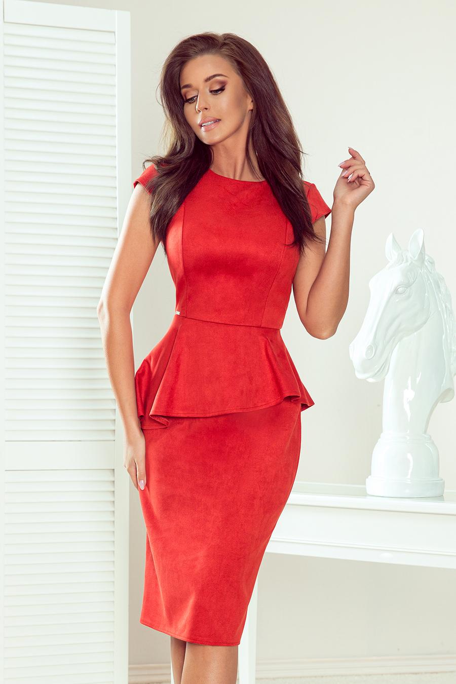 Puzdrové šaty s krátkymi rukávmi oranžové - M
