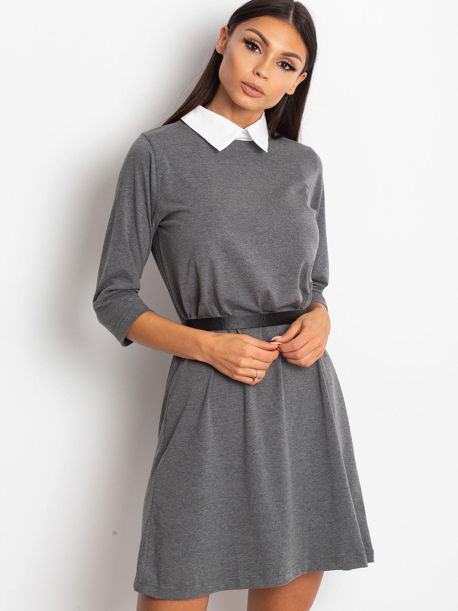 Dámske tmavosivé bavlnené šaty s golierom - S