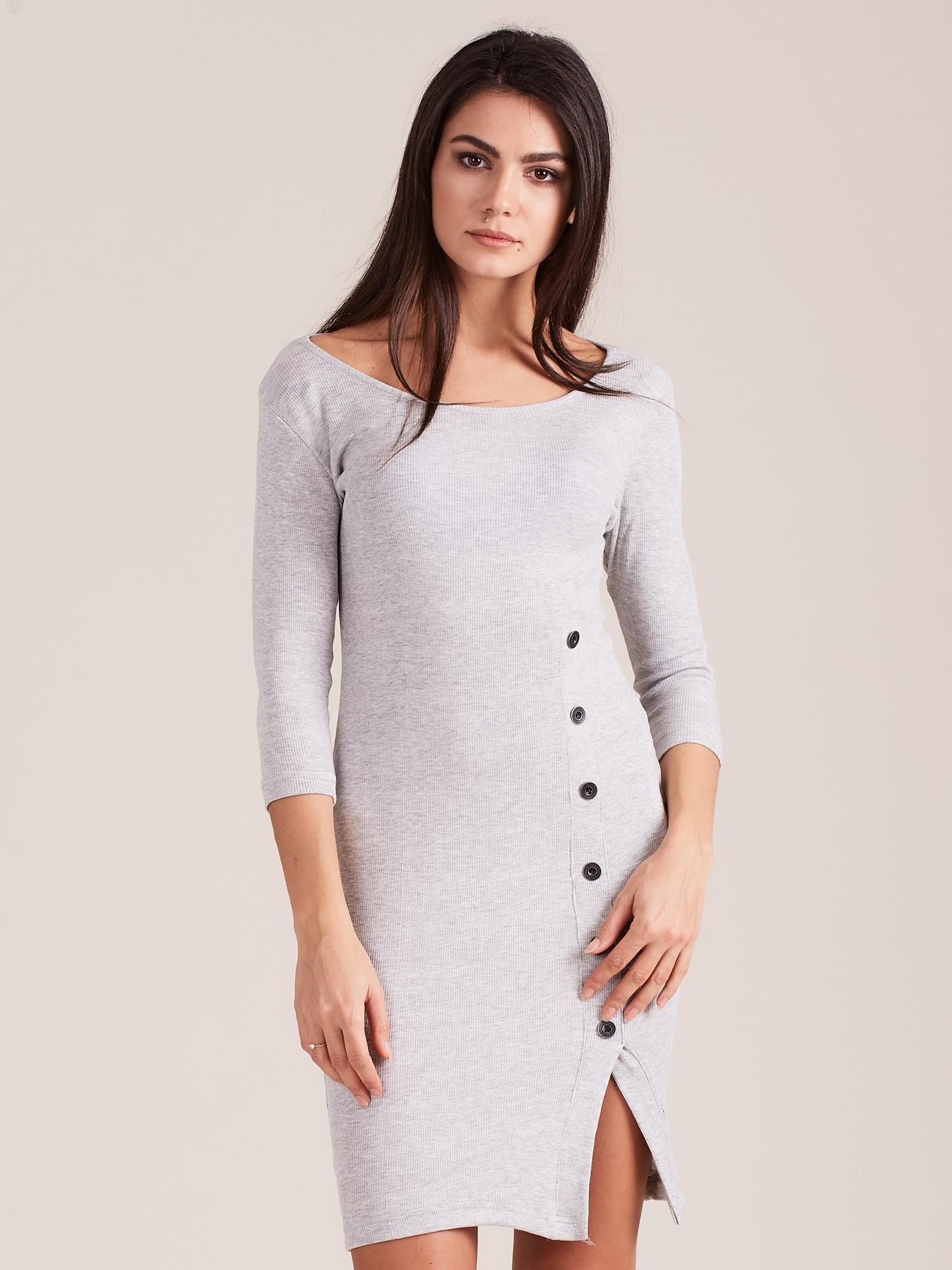 Dámske svetlosivé šaty s rozparkom - M