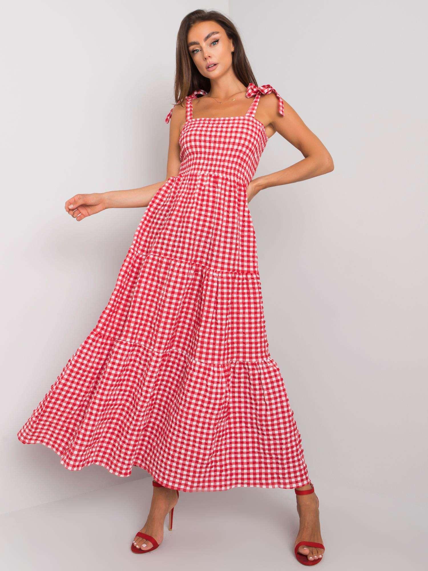 Červené kockované šaty na ramienka - S