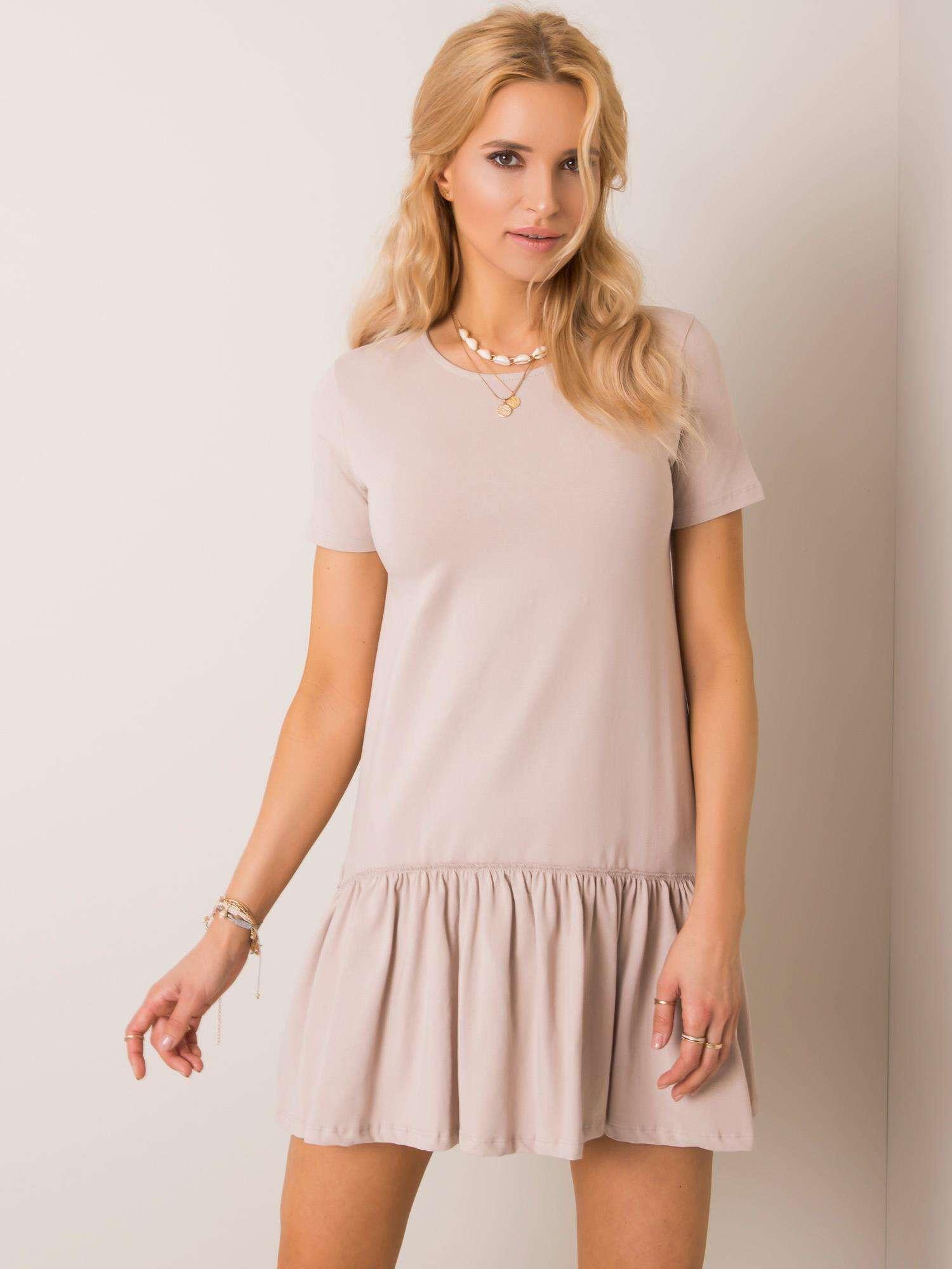 Béžové bavlnené šaty s krátkym rukávom a volánikmi - S