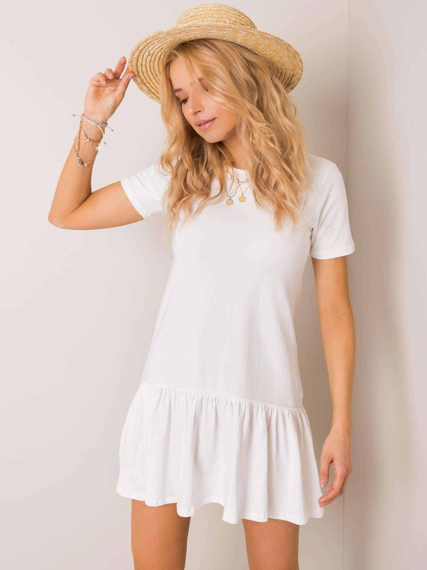 Biele bavlnené šaty s krátkym rukávom a volánikmi - S