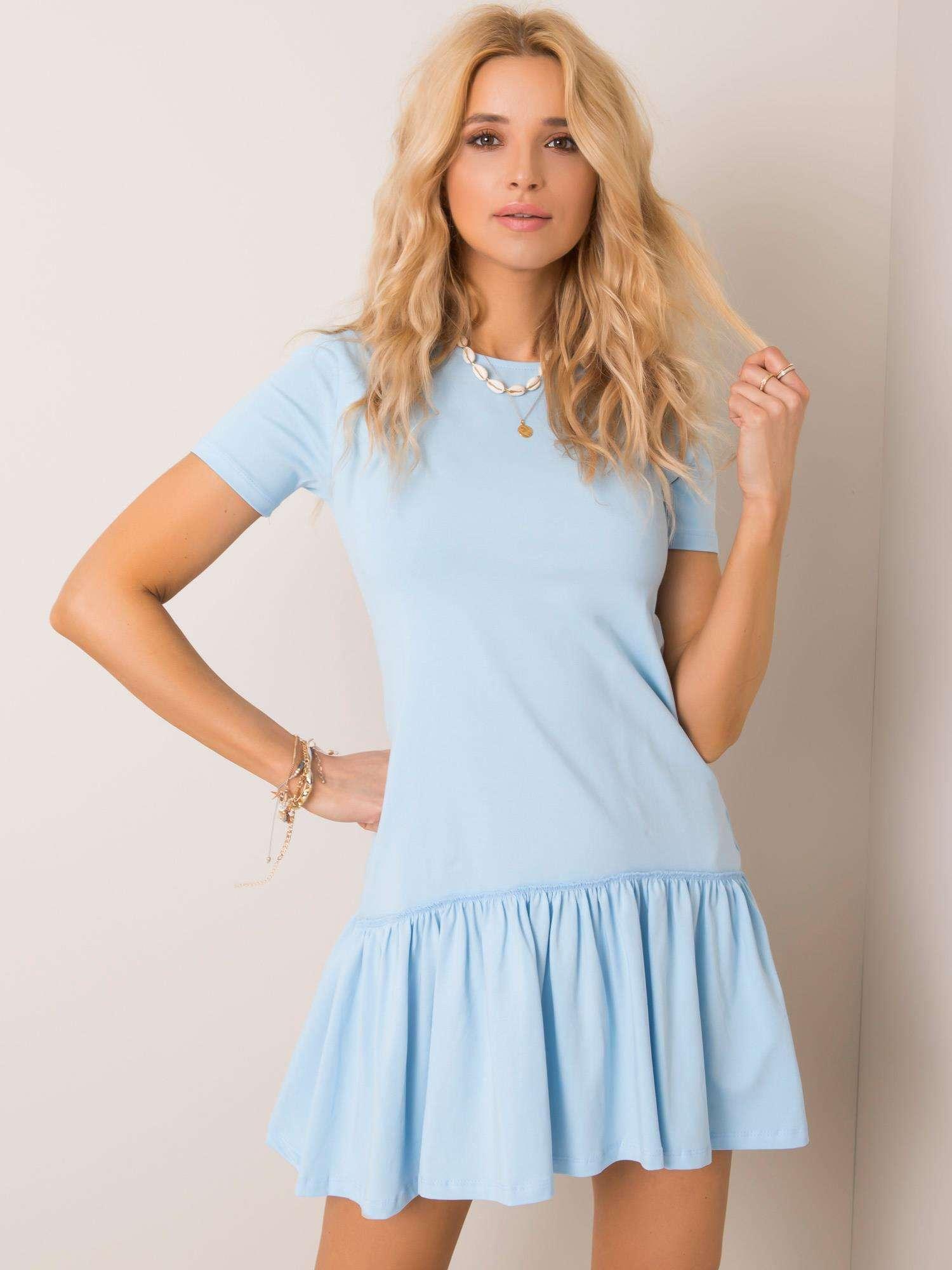 Svetlomodré bavlnené šaty s krátkym rukávom a volánikmi - S