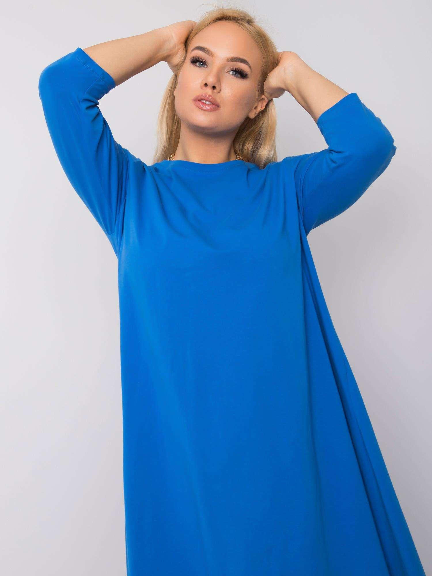 Dámske modré asymetrické šaty - UNI