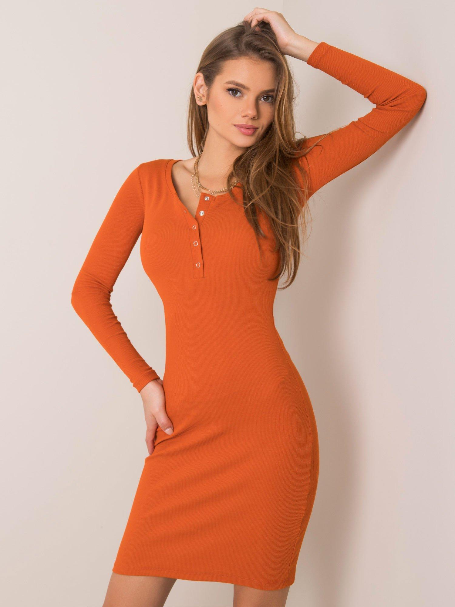 Oranžové priliehavé mini šaty s gombíkmi - M
