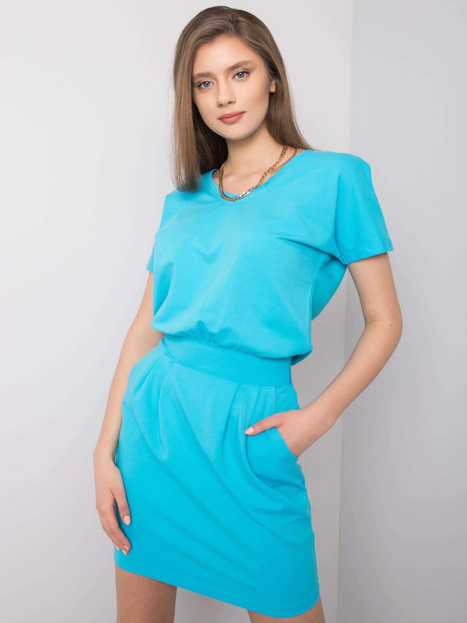 Dámske modré šaty s opaskom - M