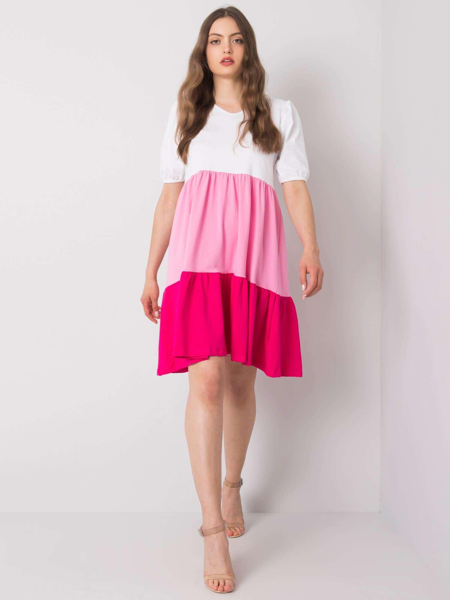 Krátke bielo-ružové bavlnené šaty - M