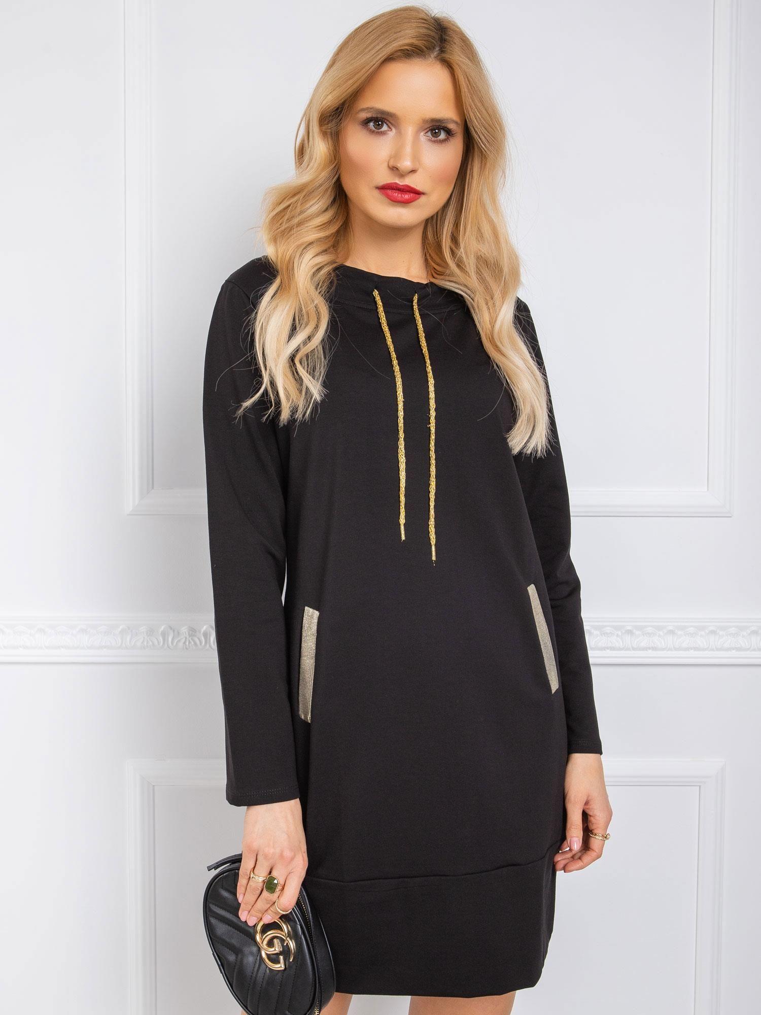 Čierne bavlnené mikinové šaty - S/M