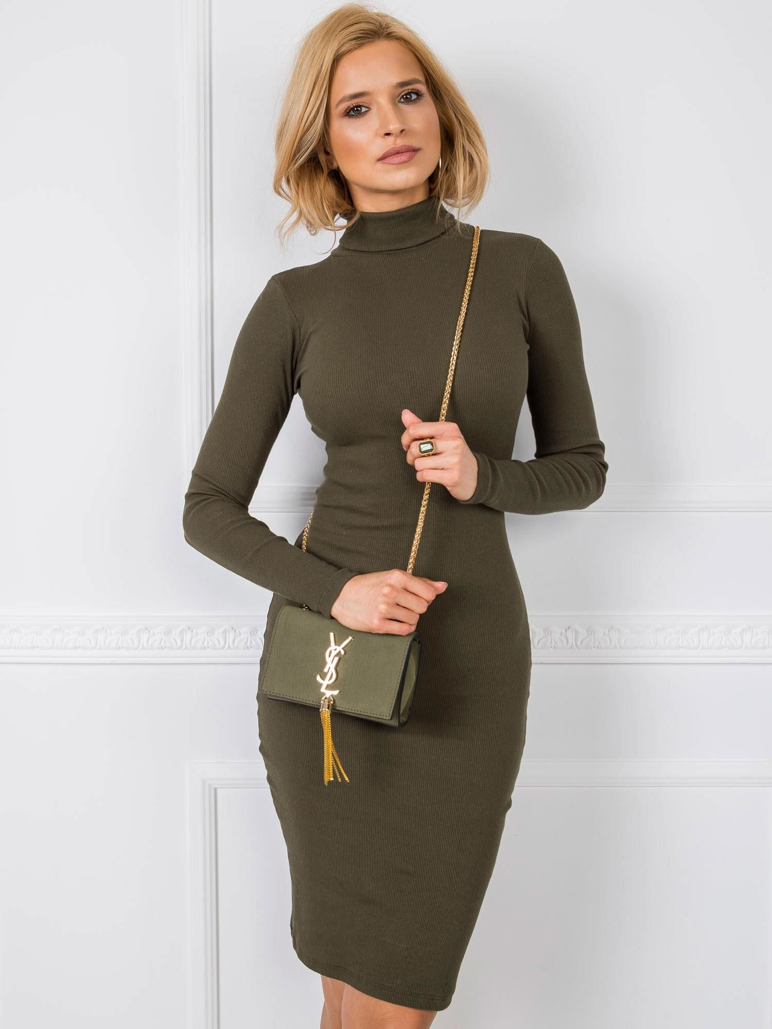 Elegantné kaki rolákové šaty - S/M