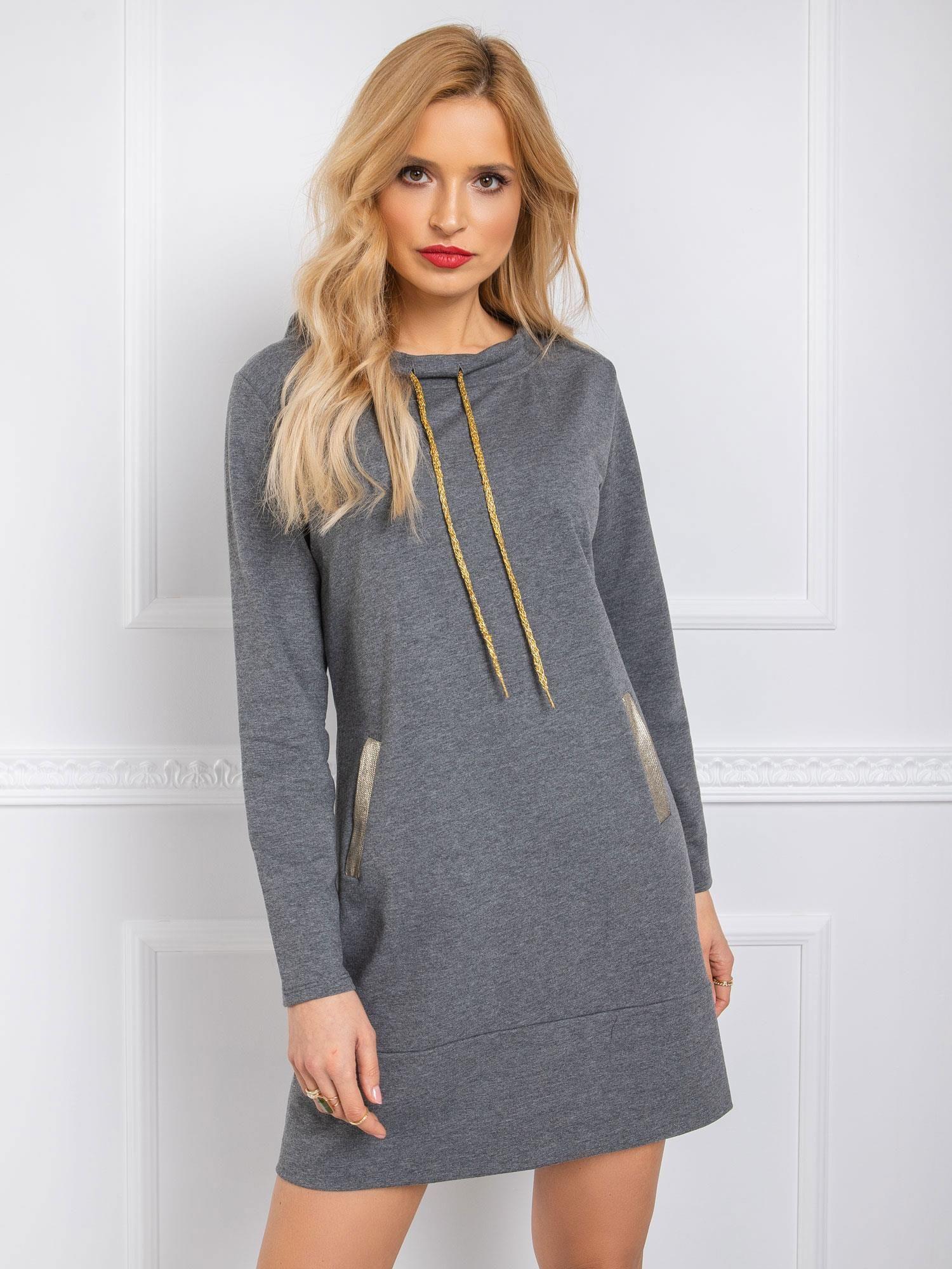 Tmavosivé bavlnené mikinové šaty - S/M