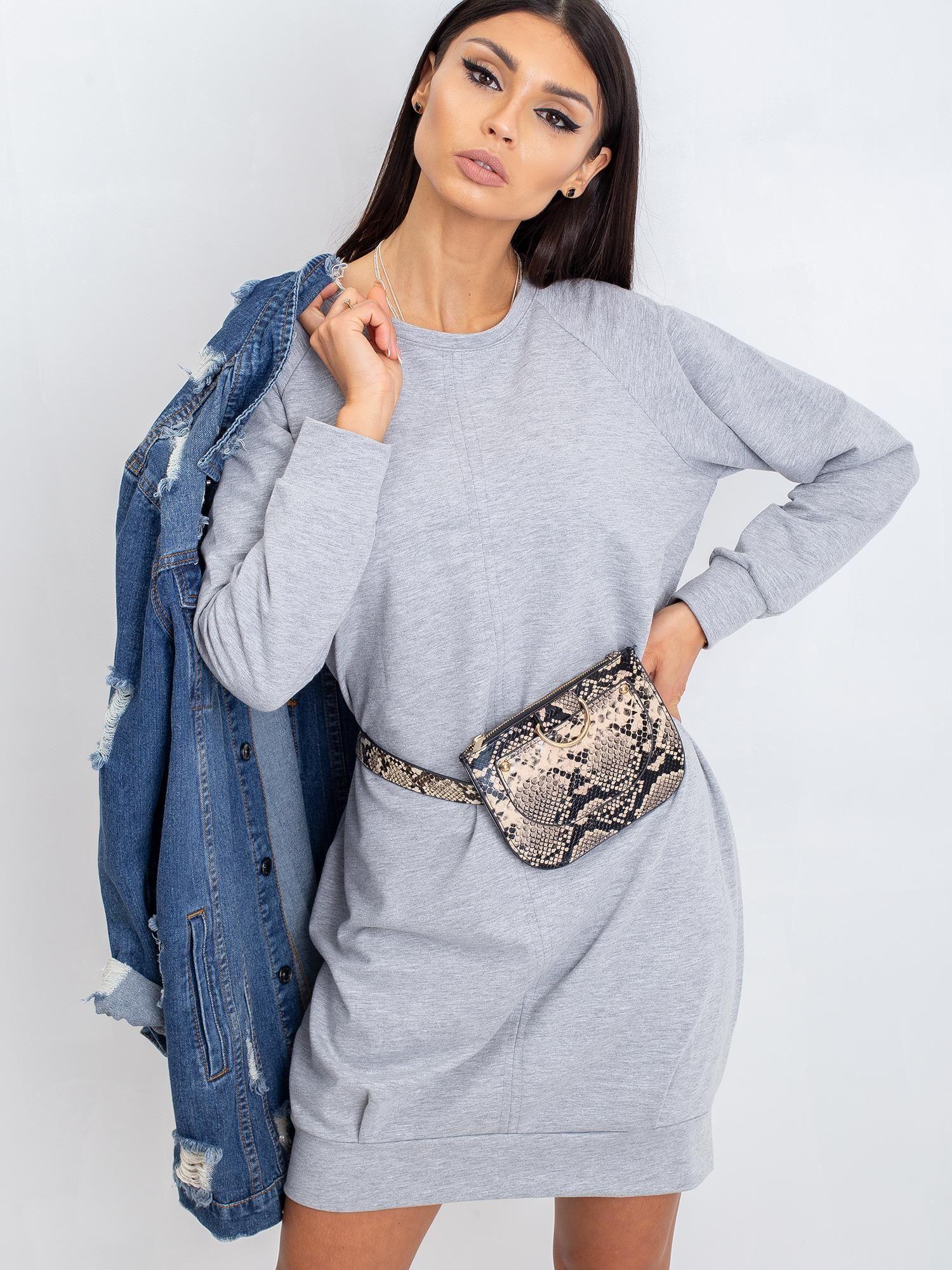 Sivé bavlnené šaty s dlhým rukávom - S/M