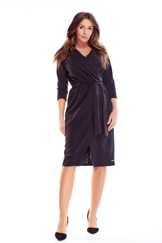 Zavinovacie šaty s 3/4 rukávmi v čiernej farbe - 38