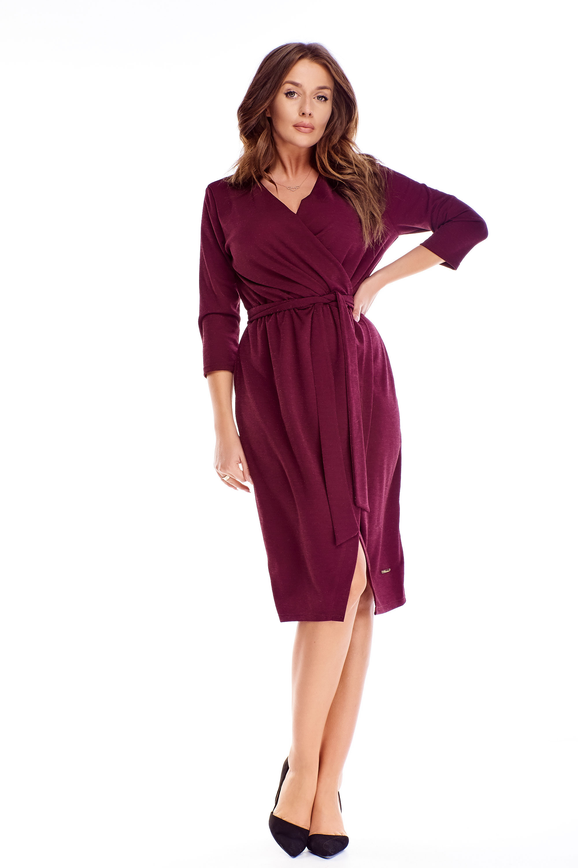 Zavinovacie šaty s 3/4 rukávmi vo fialovej farbe - 38