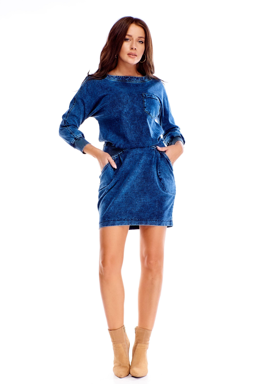 Džínsové šaty s 3/4 rukávmi modré - 40