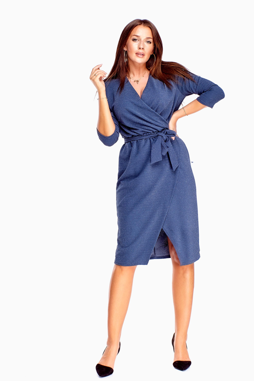 Zavinovacie šaty s 3/4 rukávmi v modrej farbe - 38