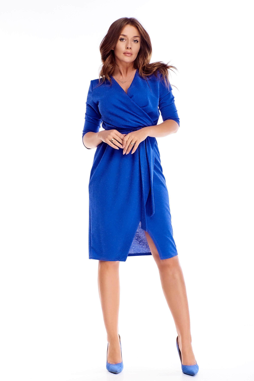 Zavinovacie šaty s 3/4 rukávmi v kráľovskej modrej farbe - 38