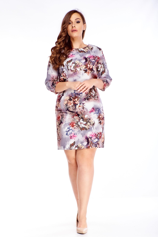 Kvetinové šaty s 3/4 rukávmi fialové - 48