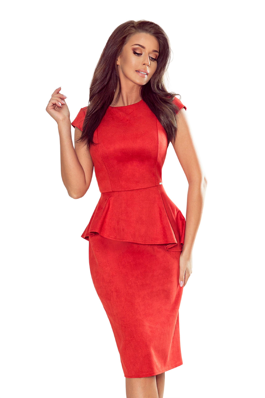 Semišové oranžové puzdrové peplum šaty - L
