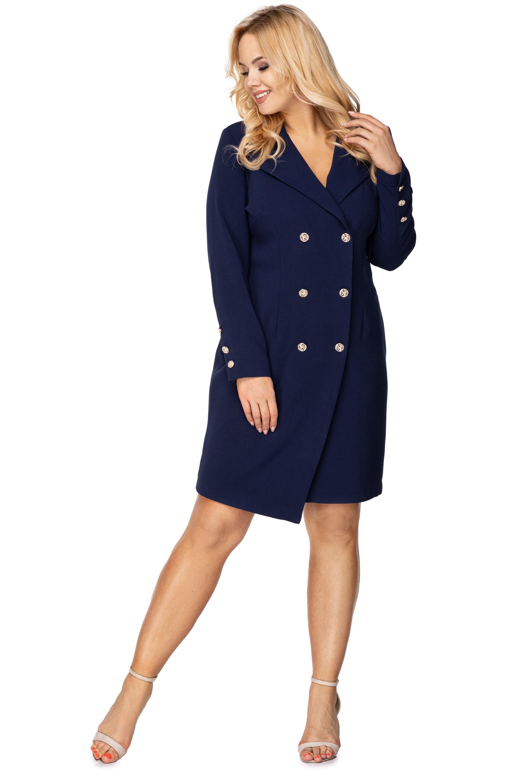 Krátke šaty s gombíkmi vpredu námornícke modré - 38