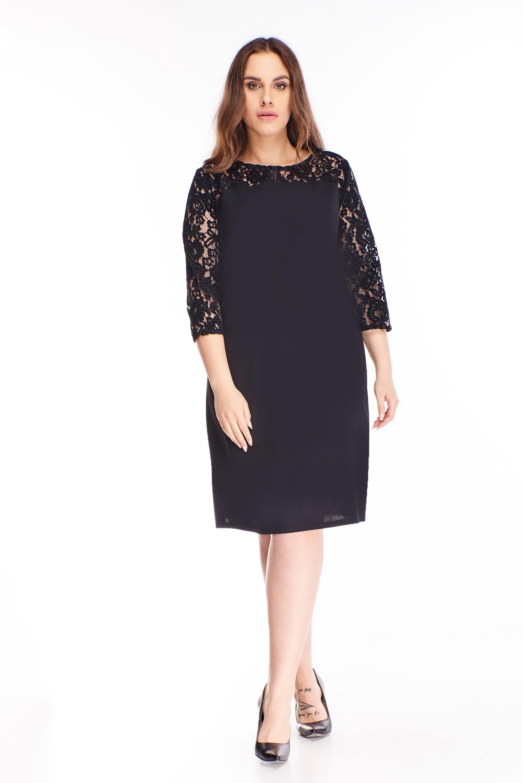 Krátke čierne šaty s čipkovaným rukávom