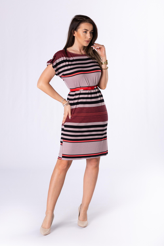 Pruhované farebné šaty s opaskom - 42