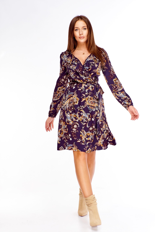 Krátke fialové šaty s orientálnym vzorom - 42