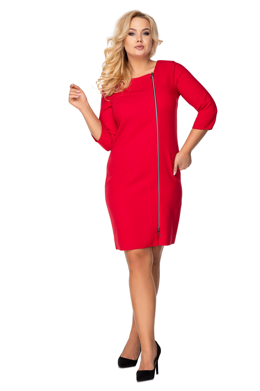 Puzdrové červené šaty so zipsom vpredu - 38