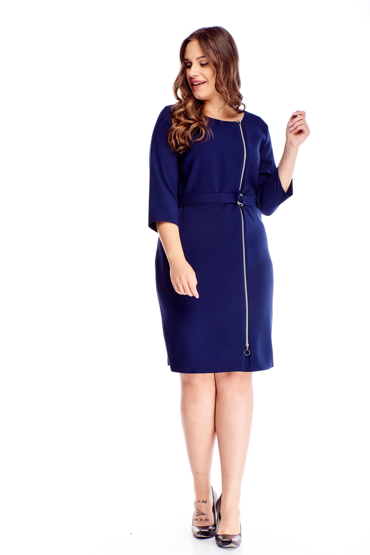 Puzdrové modré šaty so zipsom vpredu a opaskom - 42