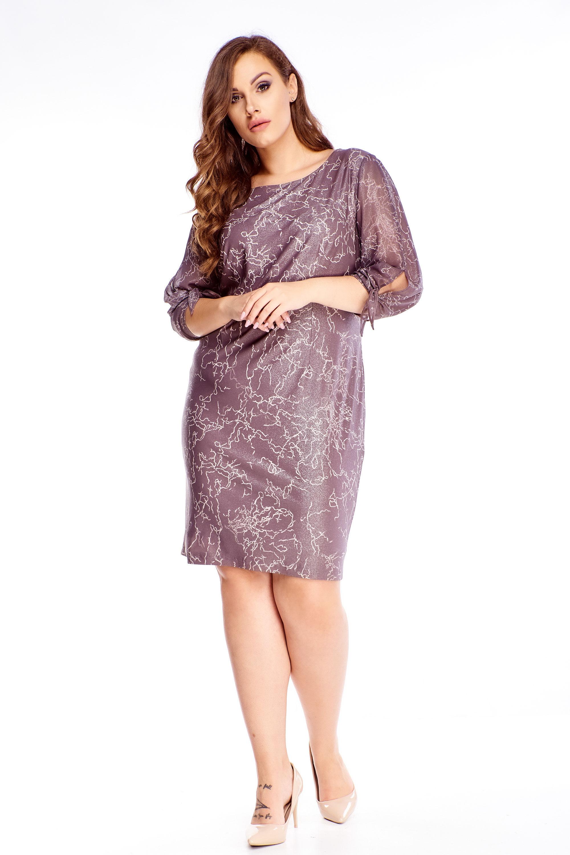 Elegantné šaty s ozdobnými rukávmi fialové - 48