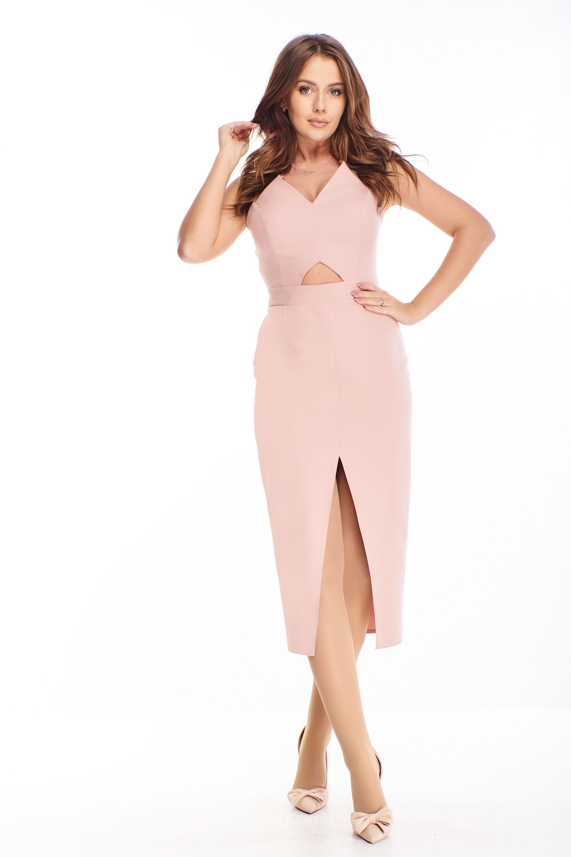 Polodlhé dámske odvážne šaty ružové