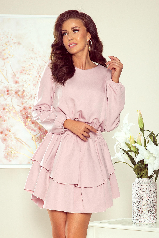 Ružové šaty s rozšíreným dnom s volánmi - S