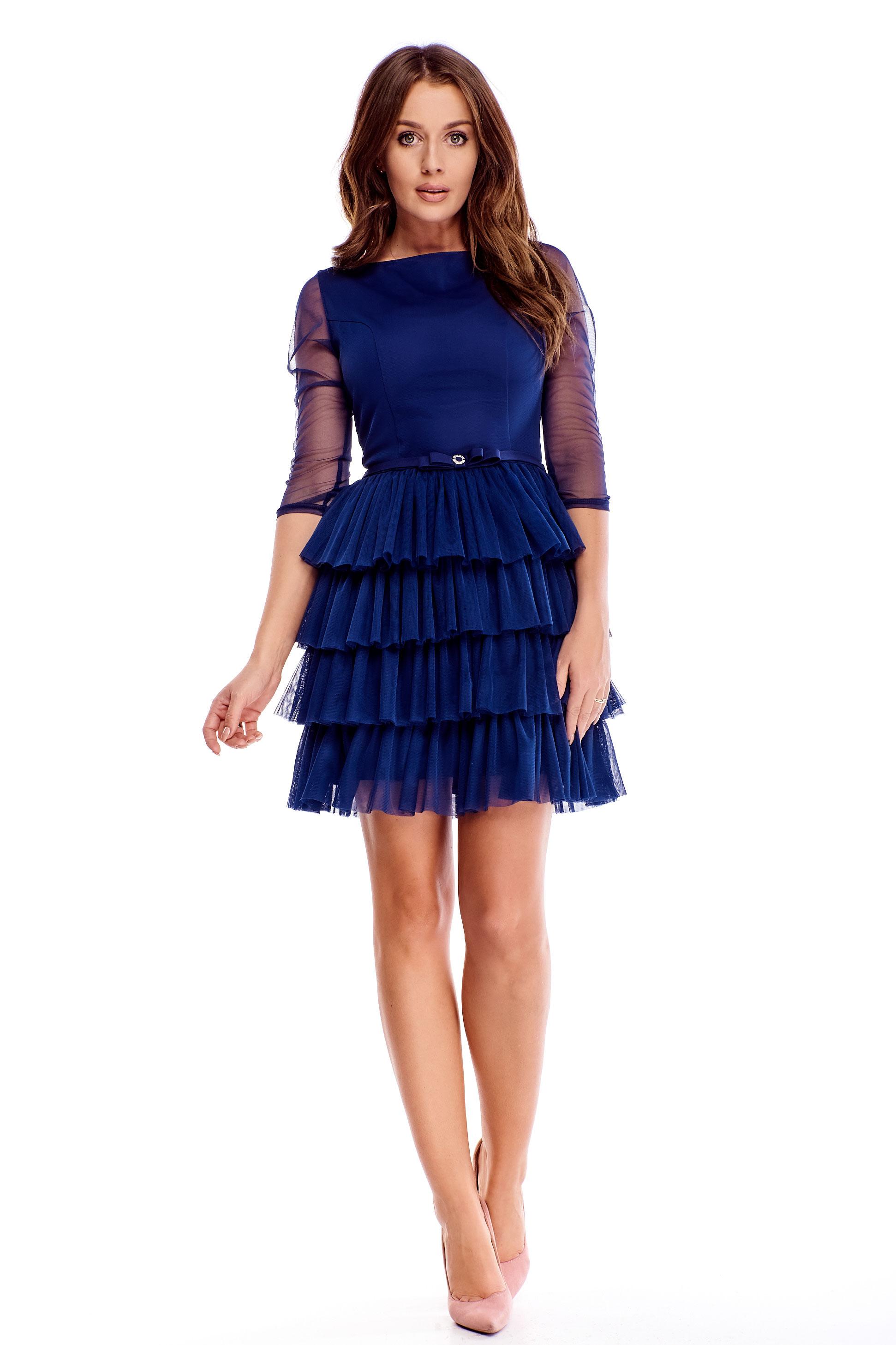 Námornícke modré spoločenské šaty s opaskom - 40