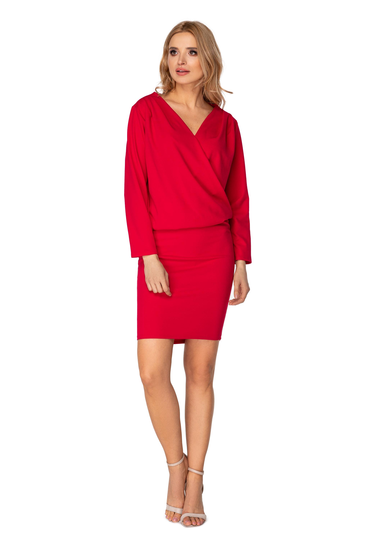 Elegantné šaty s voľným topom a puzdrovou sukňou ružové - 38