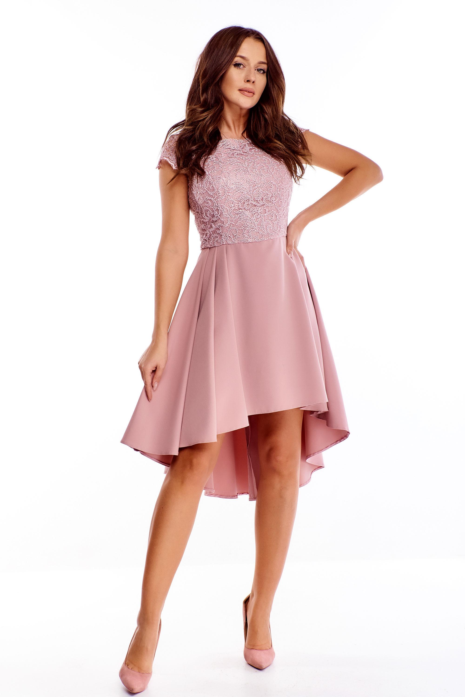Ružové spoločenské šaty s vyšívanou vrchnou časťou - 46