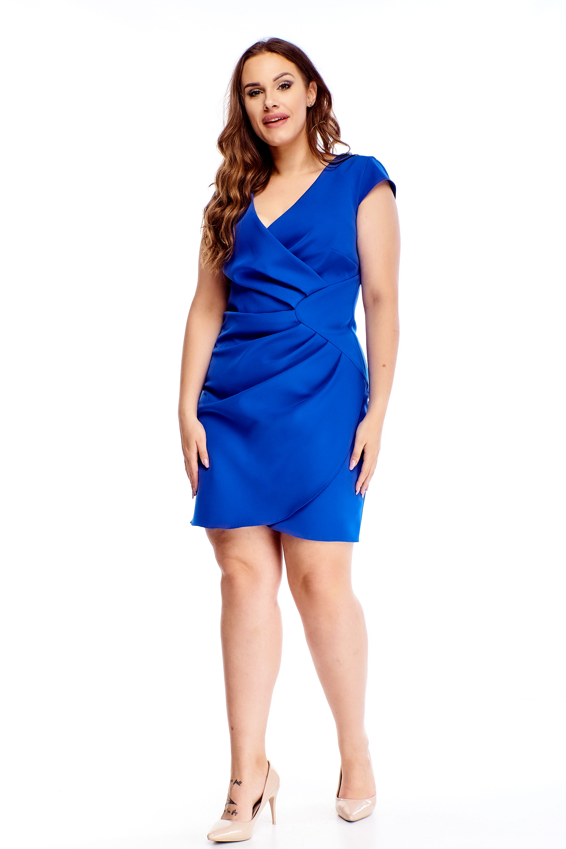 Spoločenské krátke modré šaty s nariasením v páse - 40