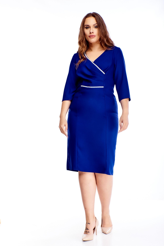 Modré elegantné puzdrové šaty