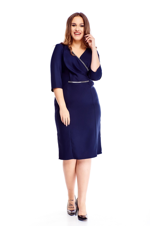 Námornícke modré elegantné puzdrové šaty