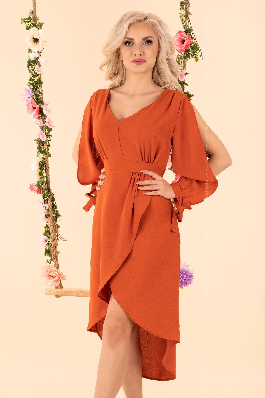 Oranžové šaty so štrbinami na rukávoch - M