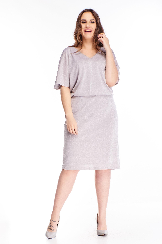 Krátke šaty so štrbinami na rukávoch fialové - 48