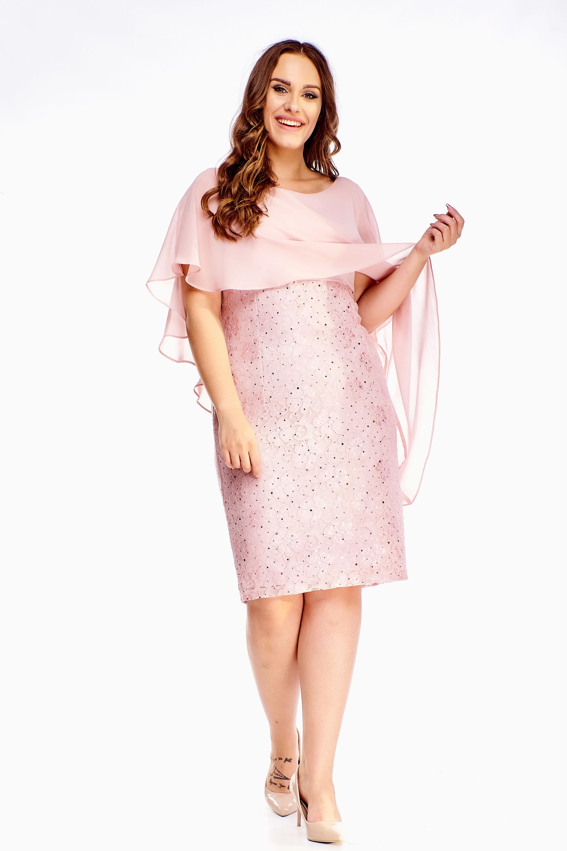 Elegantné ružové šaty s tylovým závojom - 42
